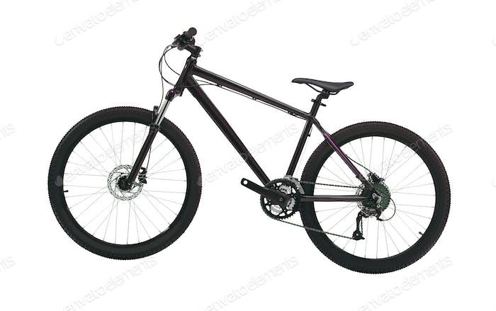 black mountain bike isolated