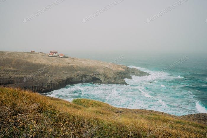 Santo Antao, Cape Verde - Cruzinha da Garca. Coastline with cliffs and Atlantic Ocean waves
