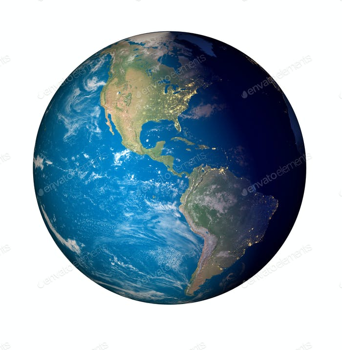 earth planet globe white background