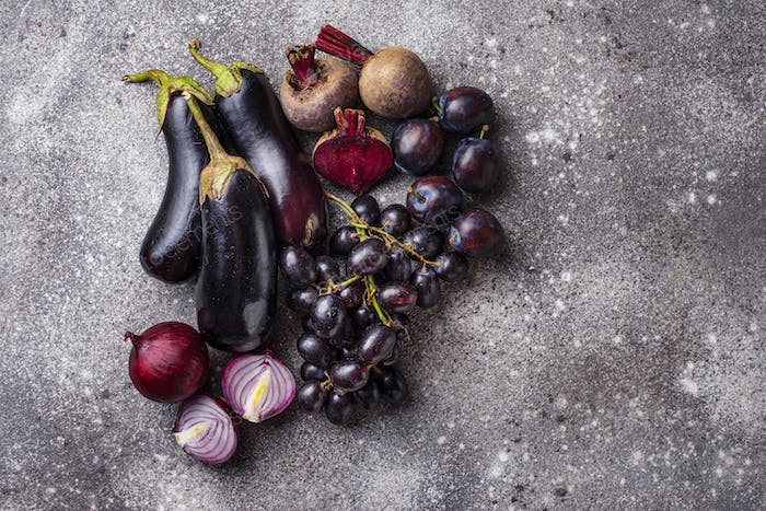 Set of purple vegetables and fruits