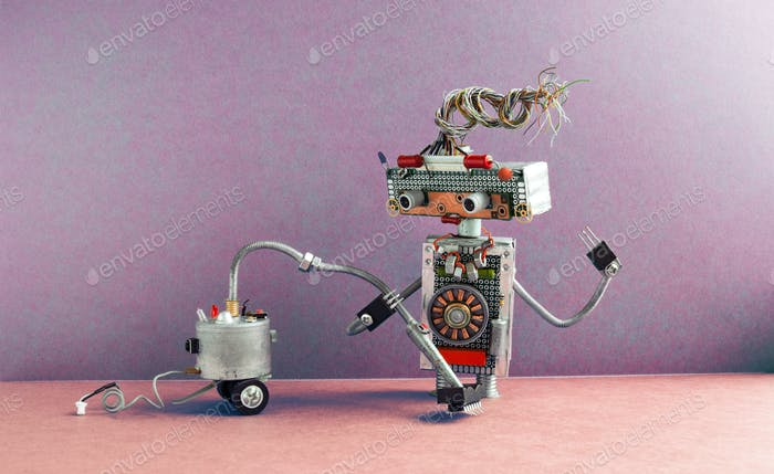 Robot janitor with vacuum cleaner machine.