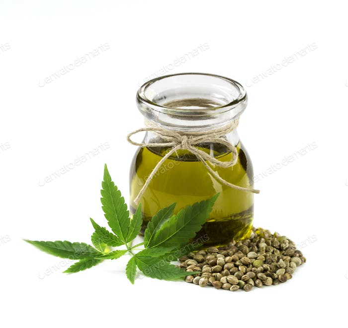 Hemp oil n a glass jar