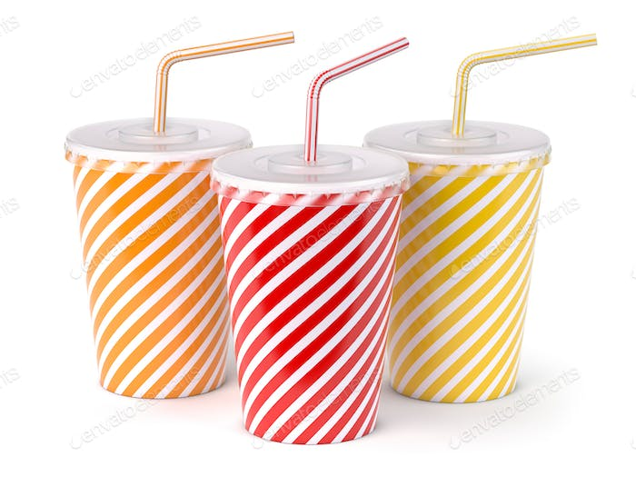 Red striped paper or plastic glass with  soda water, drinking st