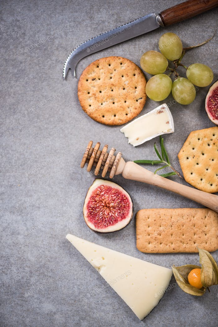 Cheese selection, food border frame,overhead