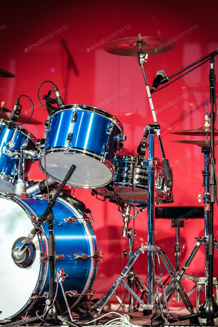Drumkit in front of Blue Background
