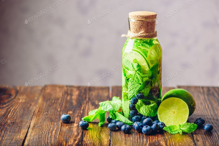 Flavored Water with Lime, Mint and Blueberry.