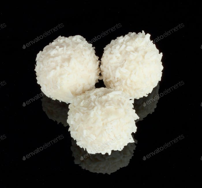 White delicious candy with coconut