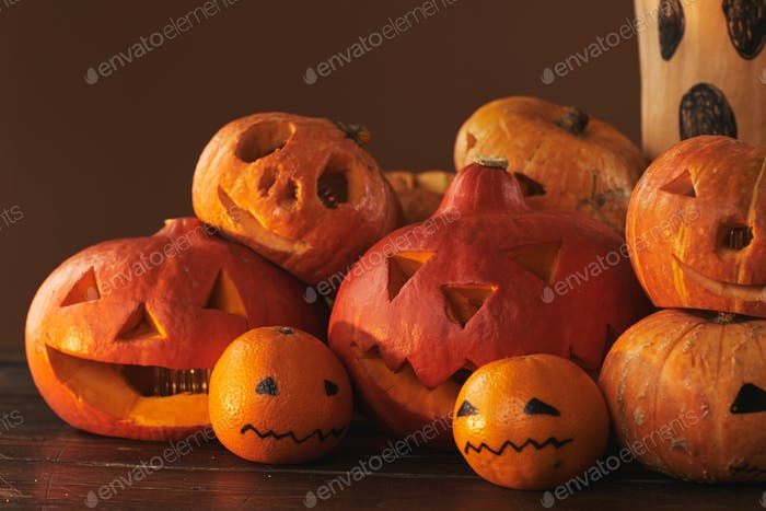 Fruit And Vegetable Halloween Composition