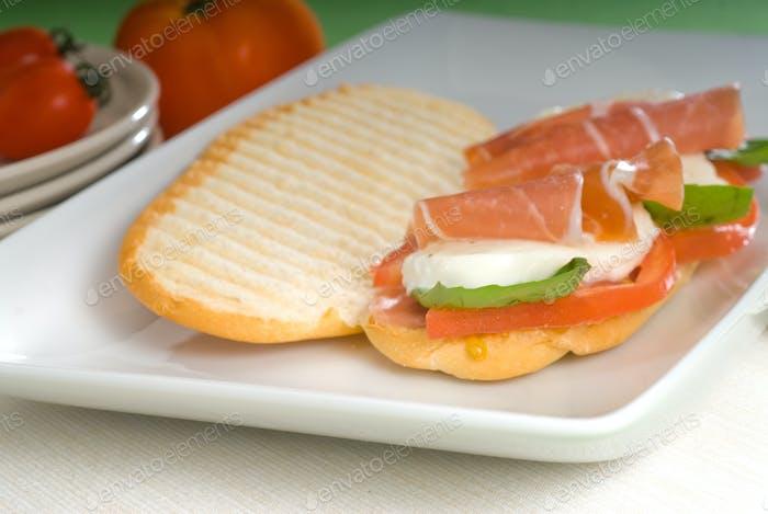 panini caprese and parma ham