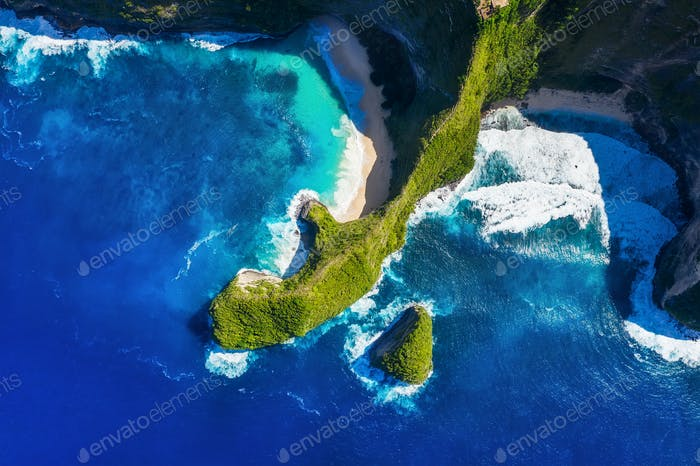 Kelingking beach, Nusa Penida, Bali, Indonesia. Aerial view on the sea and rocks.