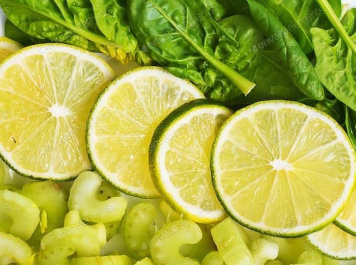 slice of fresh lime and avocado