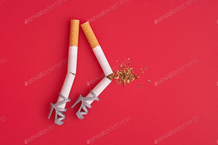 Cigarettes As Legs with Knee Injury, No Smoking Concept.