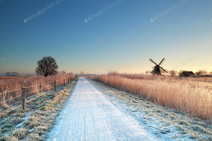 cycling road in Dutch countryside during winter