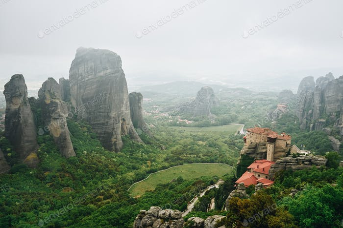 Fog landscape of Meteora Rocks , Greece