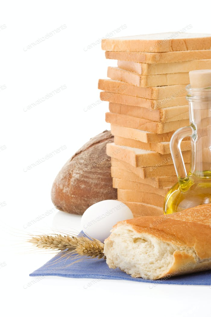 fresh bread on white background