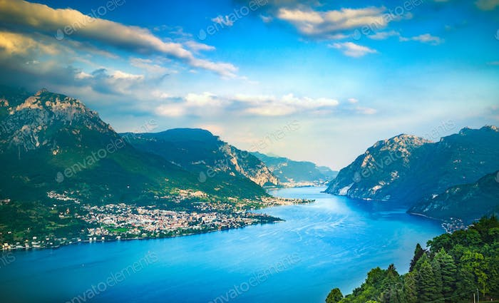 Como Lake landscape. Lake, alps and village view, Italy