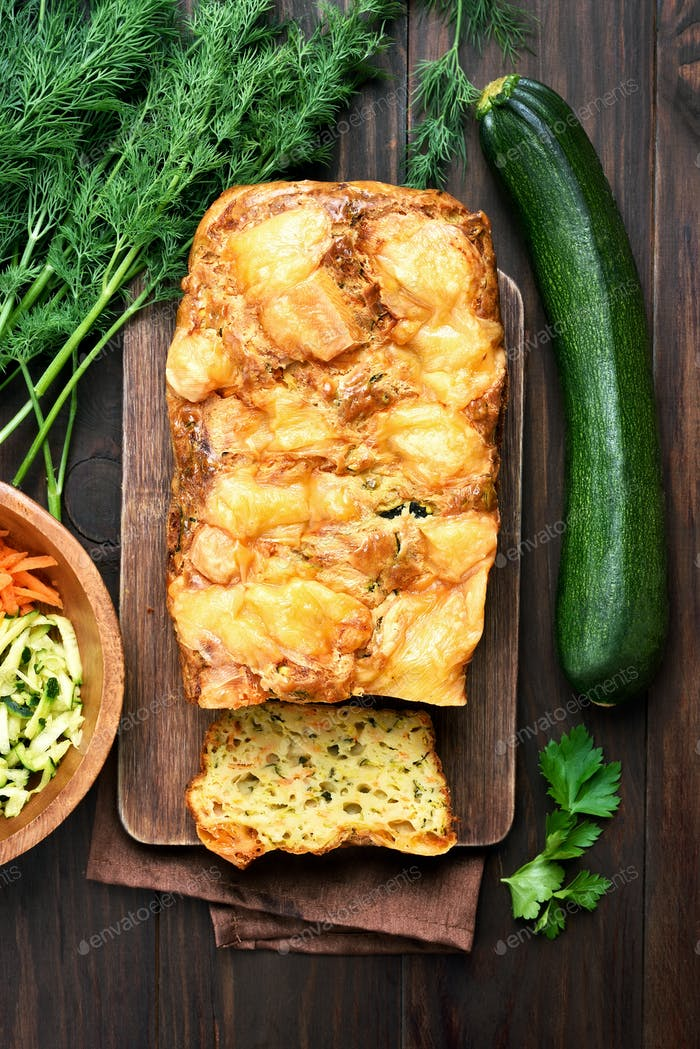 Zucchini loaf cake, top view