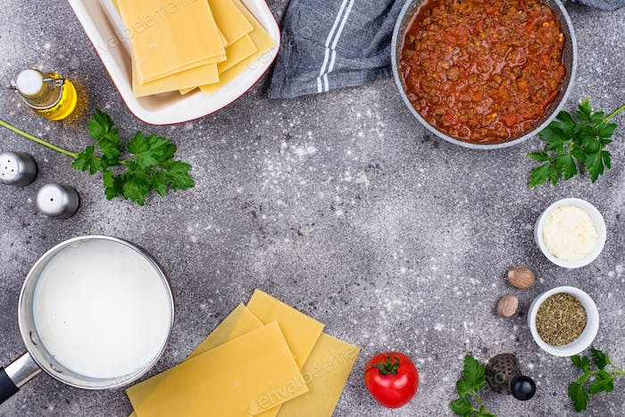 Ingredients for cooking lasagna Bolognese