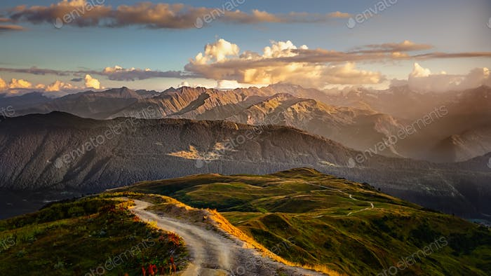 Beautiful mountain landscape view with road in foreground, Svaneti, Country of Georgia