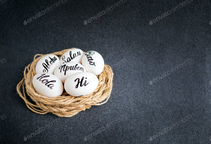 Easter eggs with the hand lettering inscription Hello (Aloha, Hi, Ciao, Salam, Hola) in different