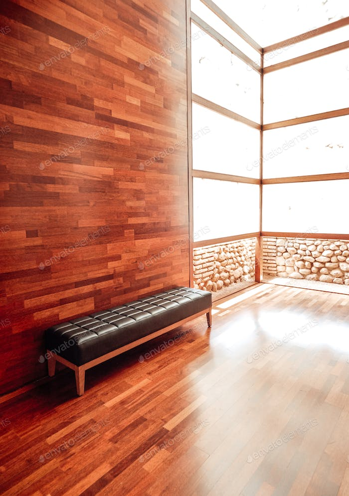 Modern space in wood with a bench