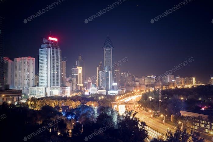 urumqi cityscape at night, sinkiang, China