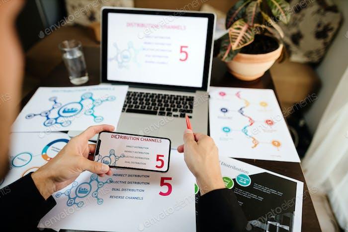 gerente de productos de marketing con plan de promoción de marketing