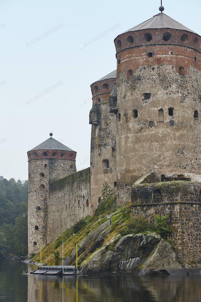 Savolinna castle fortress. Finland landmark. Finnish heritage. Vertical