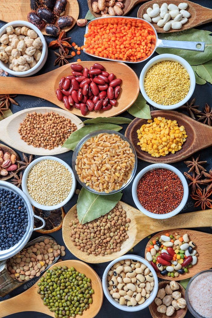 Composition of various kinds of legumes pulses background
