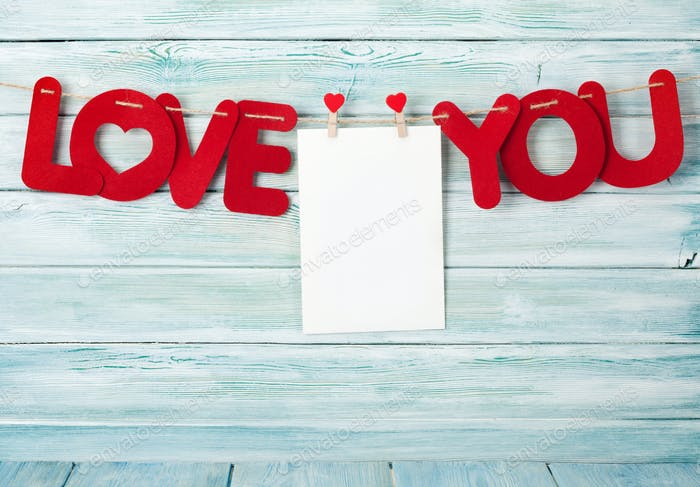 Valentines day greeting card with love you words