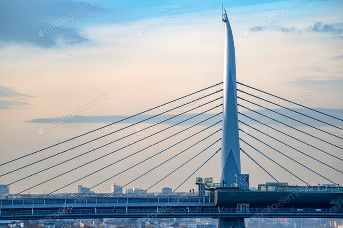 The beautiful view on the Golden Horn bridge in the blue haze