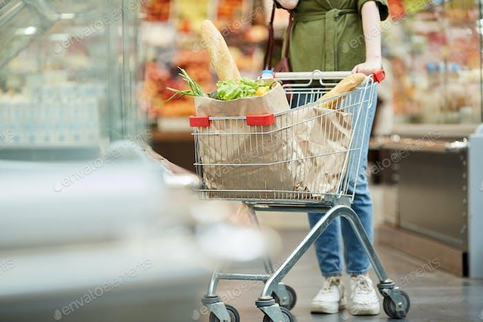 Customer Pushing Shopping Cart in Supermarket