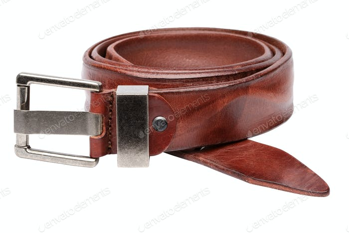 Closeup view of brown men belt