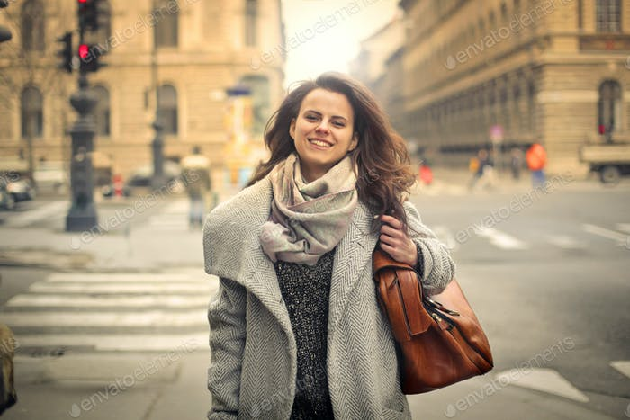 Woman in a city street
