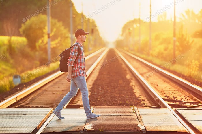 Traveling by train to nature