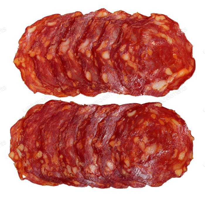 Slices of chorizo sausage