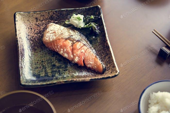 Salmon grilled set japanese food