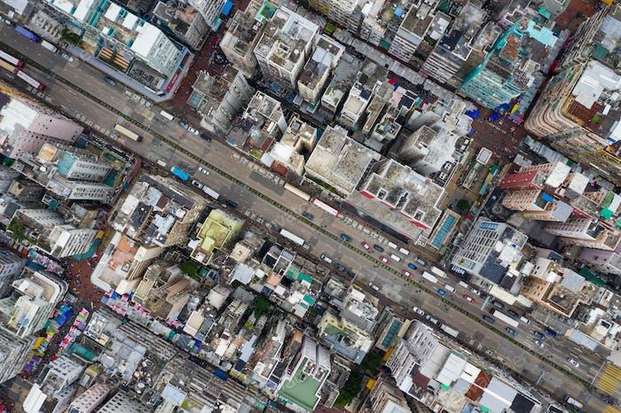 Sham Shui Po, Hong Kong 06 May 2019: Hong Kong downtown city from top