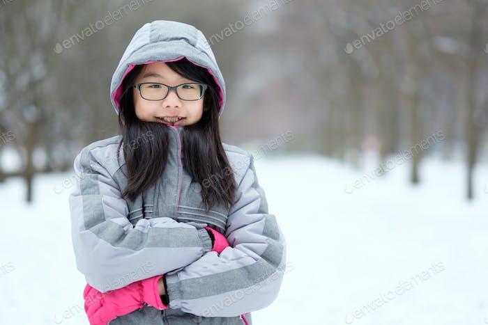 Portrait of Asian teen in winter