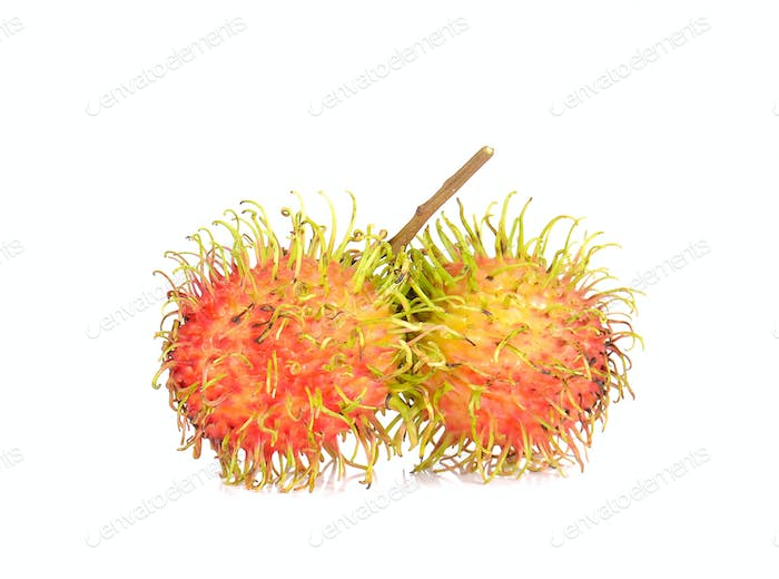 Fresh rambutan on white background.