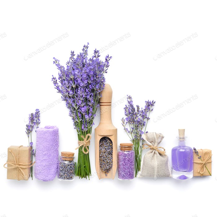 Natural cosmetics with flowers of lavender on white background