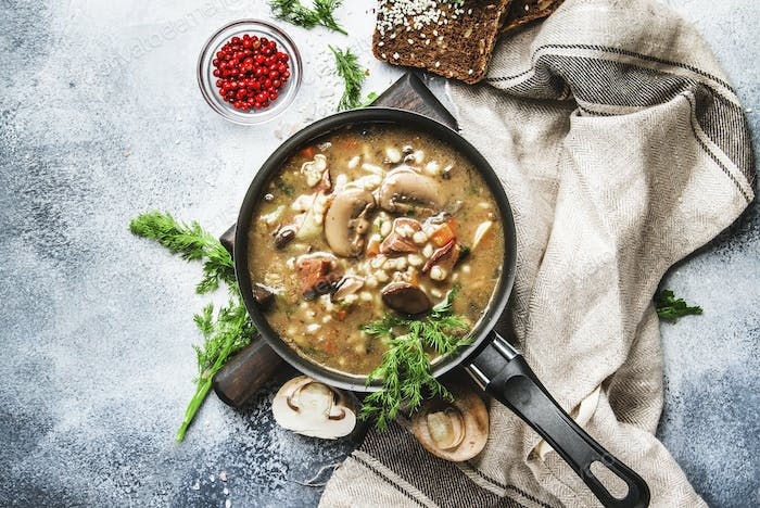 Autumn or winter meat vegetable mushroom hot soup