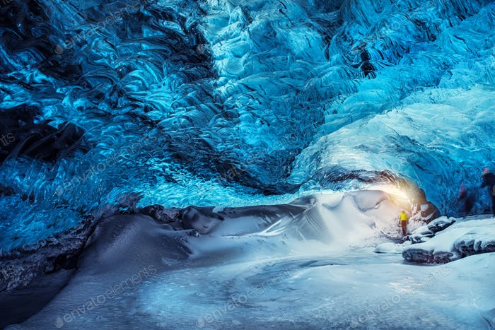 Man in the glacier cave, Iceland