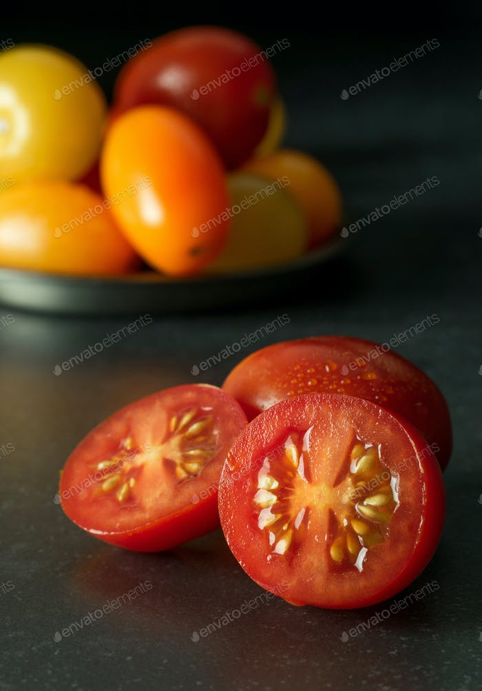 A Freshly Cut Red Tomato