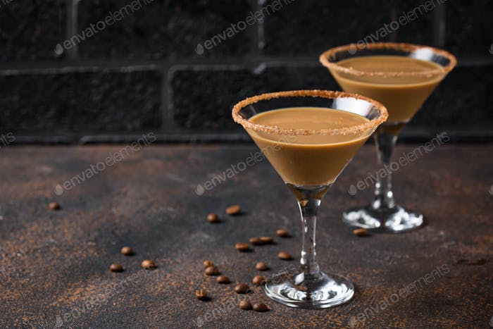 Chocolate martini cocktail or Irish cream liquor