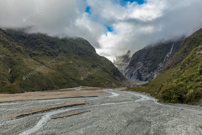 Hiking to the Franz Josef glacier in South Alps, South island, N