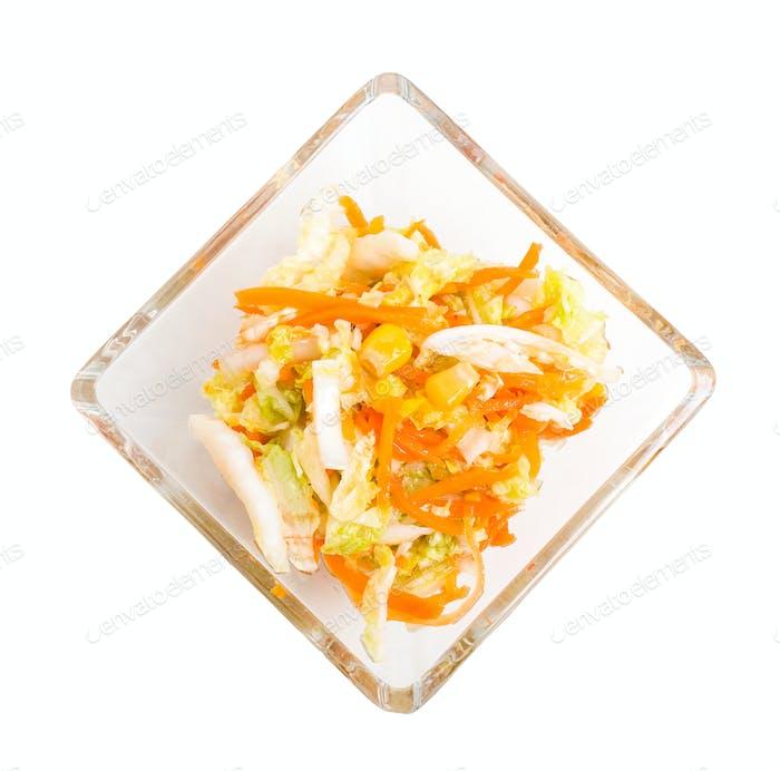 Fresh coleslaw salad with corn.
