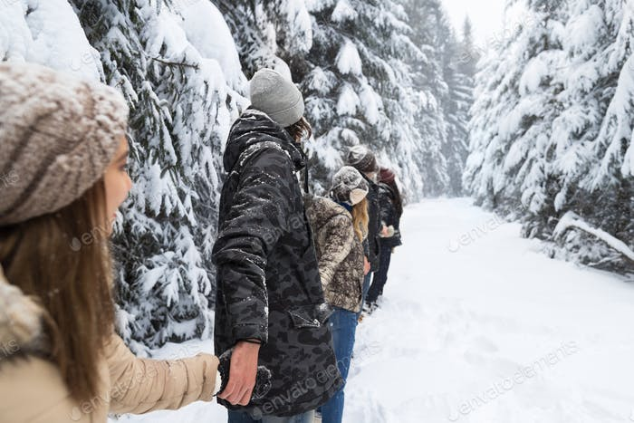 Friends Group Snow Forest Young People Walking Outdoor