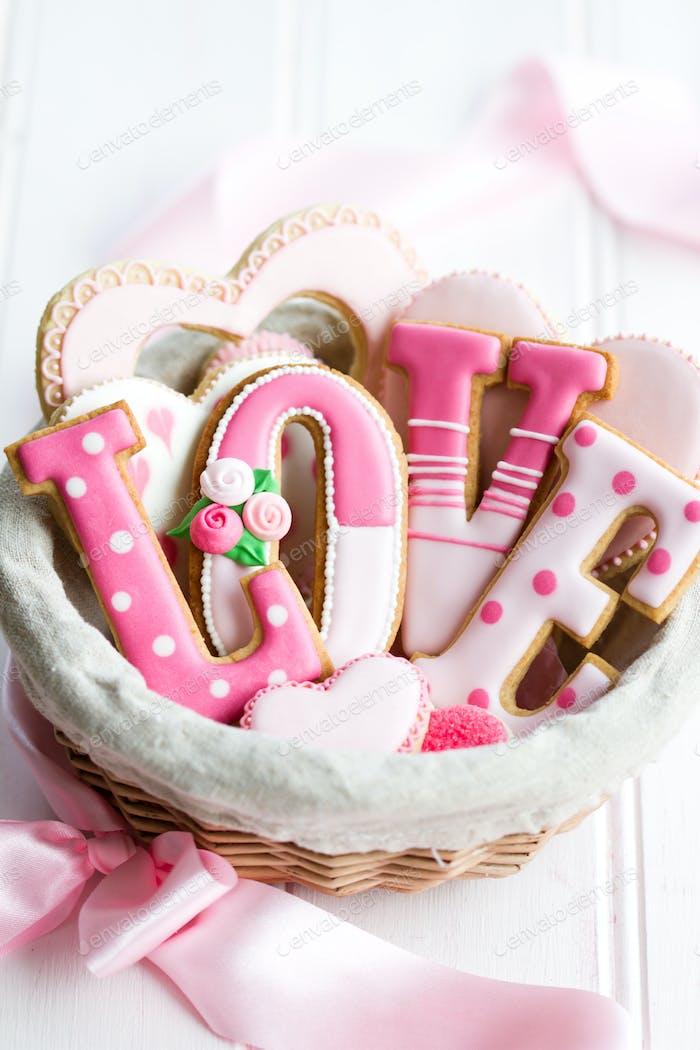 Valentine cookie gift basket