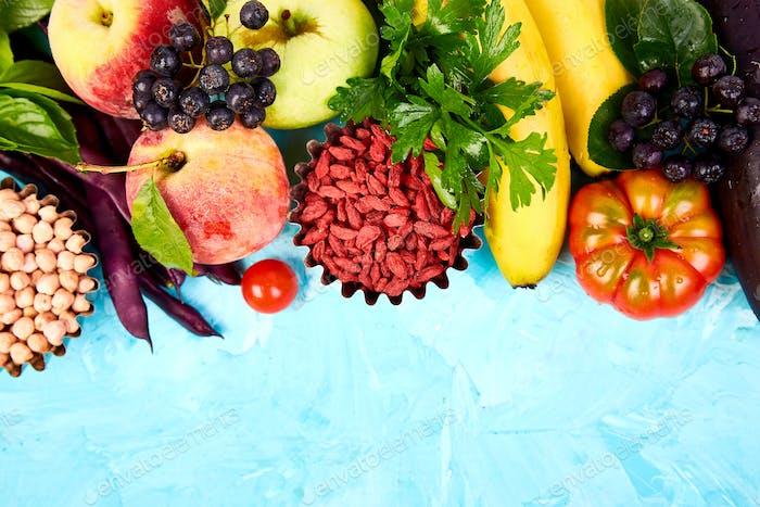 Gesundes buntes Essen Auswahl